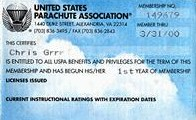 Time-before-the-second USPA membership card